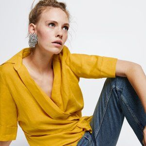 Zara linen yellow wrap v-neck as seen on TV blouse